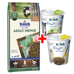 Bosch Adult Menue 15 kg + 2x 200 g Fruitees Snacks gratis
