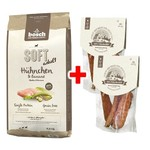 Bosch SOFT mit Hühnchen & Banane 12,5 kg + 2 x Country Meat Snack Hühnchenfilet 80 g gratis