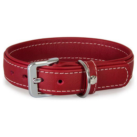Das Lederband Hundehalsband Barcelona Indian-Red, Länge: 25 cm