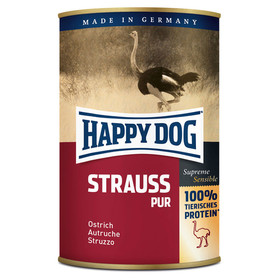 (9,69 EUR/kg) Happy Dog Strauß Pur 400 g - 12 Stück