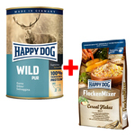 Happy Dog Wild Pur 400 g - 12 Stück + 1 kg Flocken Mixer gratis